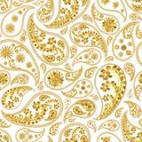 Traditional paisley seamless pattern. Paisley gold seamless pattern. Hand drawn golden traditional asian ethnic oriental arabic indian floral paisley batik Royalty Free Stock Image
