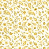 Traditional paisley seamless pattern. Paisley gold seamless pattern. Hand drawn golden traditional asian ethnic oriental arabic indian floral paisley batik Stock Photography