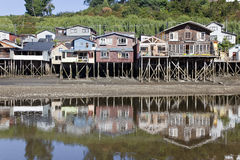 Traditional palafitos at Castro. Royalty Free Stock Images
