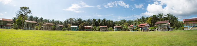 Traditional palm worker houses in Costa rica stock images