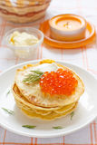 Traditional pancakes. With sour cream, caviar and fennel Stock Image