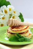 Traditional pancakes with honey and mint Stock Photography