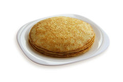 Traditional pancakes - russian blini. Traditional pancakes isolated on white background Royalty Free Stock Photography