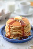 Traditional pancakes with syrup and butter royalty free stock photo