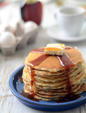 Traditional pancakes with syrup and butter Stock Images
