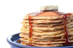 Traditional pancakes with syrup and butter stock photo