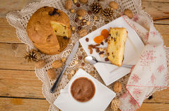 Traditional panettone with hot chocolate Stock Photos