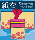 Traditional Paper Kimono or Kamigoromo for Tanabata Festival, Vector Illustration. Poster with paper kimono with floral design or Kamigoromo -written in Japanese Royalty Free Stock Photo