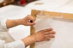 The traditional papermaking. In China,Traditional handicraft Royalty Free Stock Photos