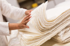 The traditional papermaking. In China,Traditional handicraft,A stack of paper Royalty Free Stock Image