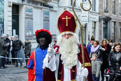 Traditional Parade of Saint Nicolas in Brussels stock photography