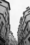 Traditional Paris Street. Black and White of an Angular Traditional Paris Street royalty free stock photography