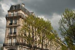 Traditional Parisian building stock photos