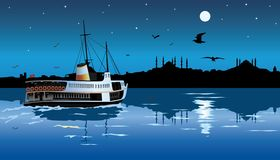 Silhouette of istanbul in the moonlight stock illustration