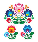 Polish floral folk embroidery pattern. Traditional pattern form poland - paper catouts style isolated on white stock illustration