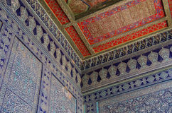 Traditional patterns. On the ceiling and walls of the mosque in Uzbekistan Stock Photo