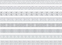Traditional patterns. A set of traditional patterns in gray colors Stock Photo