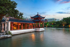 Traditional pavilion and promenade at dusk Royalty Free Stock Photography