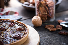 Traditional pecan nut pie Royalty Free Stock Images