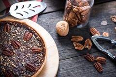 Traditional pecan nut pie Stock Photo