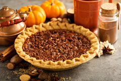 Traditional pecan pie Stock Photos