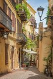 Traditional pedestrian street in the old town of Chania in Crete Greece. Traditional pedestrian street in the old town of Chania in Crete, Greece Stock Photos