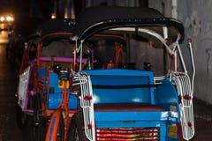A traditional pedicap on the night at jogja yogyakarta indonesia. Java Stock Image