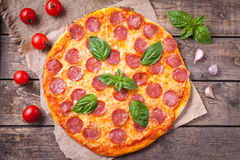 Traditional pepperoni pizza Italian delicious meal Stock Photography