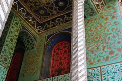 Traditional Persian design of the palace Golestan with painted w Stock Images