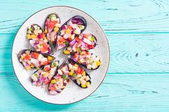 Traditional  Peruvian food background with mussels. Choros a la chalaca . Traditional  Peruvian food background with mussels royalty free stock photography