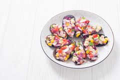 Traditional  Peruvian food background with mussels. Choros a la chalaca . Traditional  Peruvian food background with mussels royalty free stock image