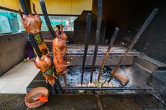 Traditional Peruvian grilled guinea pig stock image