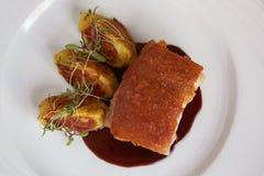 Traditional Peruvian Meal Called Chicharron de Panceta de Cerdo Stock Images