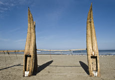 Traditional Peruvian small Reed Boats Royalty Free Stock Images