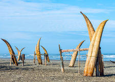 Traditional Peruvian small Reed Boats Stock Photography