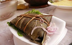 Traditional Peruvian tamale or `tamal` stock photography
