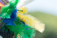 Peruvian tribal crown. Traditional peruvian tribal crown made with colorful feathers stock photography