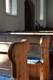 Traditional pews in a English church. Royalty Free Stock Photography