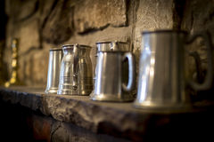 Traditional pewter tankard in a traditional English pub Stock Image
