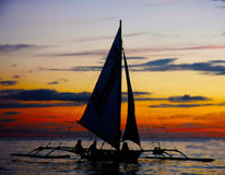 Traditional philippines boat on sunset Stock Image