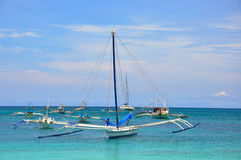 Traditional phillipino sailboat. Boracay, Philippines Stock Photos