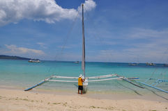 Traditional phillipino sailboat. Boracay, Philippines Stock Photography