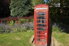Traditional phone box in Yorkshire town Stock Photo