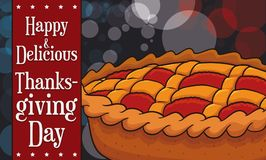 Traditional Pie for American Thanksgiving Day with Bokeh Effect, Vector Illustration. Banner with a delicious traditonal pie for American Thanksgiving Day Royalty Free Stock Images