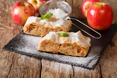 Traditional piece of apple strudel with powdered sugar and mint Stock Photos