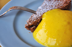 Traditional Piemonte recipe: hazelnut cake and custard Stock Images