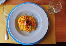 Traditional Piemonte recipe: tajarin pasta with vegetables Stock Images
