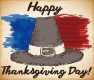 Hand Drawn Pilgrim Hat with American Flag Brushstrokes for Thanksgiving, Vector Illustration vector illustration