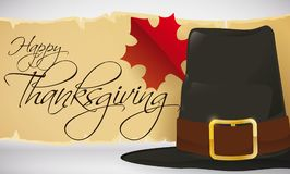 Traditional Pilgrim Hat with Scroll and Maple Leaf for Thanksgiving, Vector Illustration Stock Photo