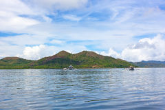 Traditional Pilipino boats in lagoon of Coron Island, Palawan province, Philippines. Royalty Free Stock Image